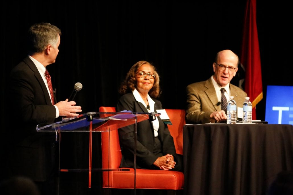 Lynn Evans, center, addresses co-op leaders during the Tennessee Electric Cooperative Association's annual meeting in Nashville on Tuesday, Nov. 22, 2016.